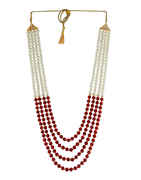 Simple Red Colour Gold Finish Fancy Groom Necklace Mala