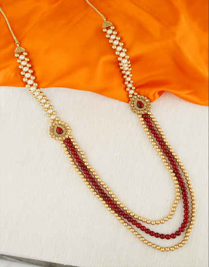 Antique Gold Finish Groom Mala Studded With Stones Groom Necklace