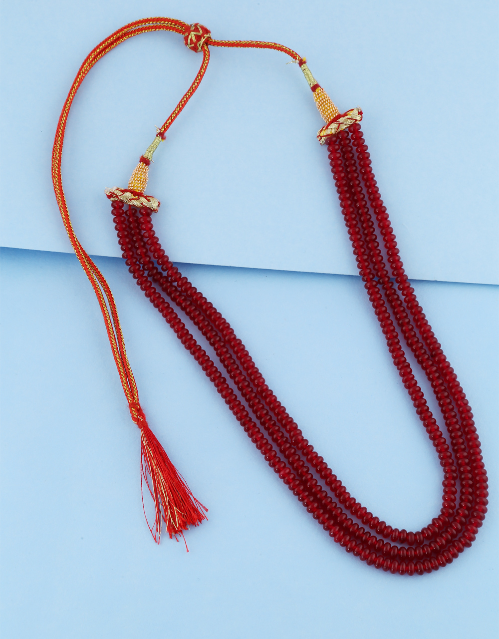 Red Colour Fancy Beads Mala For Women Fancy