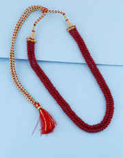 Red Colour Simple Layered Mala For Girls