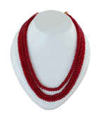 Maroon Colour Layered Beads Mala