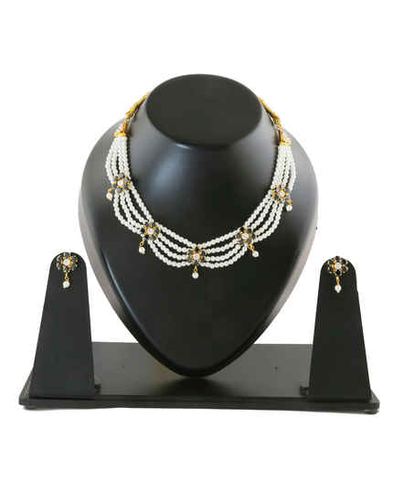 Black Colour Floral Design Gold Finish Pearls Jewellery