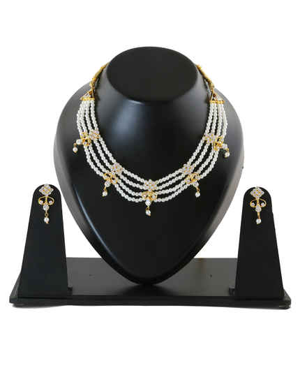 Very Classy Gold Finish Marathi Necklace Jewellery