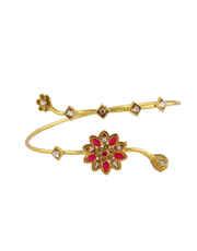 Red Colour Gold Finish Floral Design Bajuband