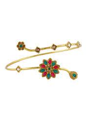 Multi Colour Gold Finish Hand Bajuband For Wedding