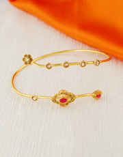 Red Colour Fancy Gold Finish Bajuband For Women Fancy