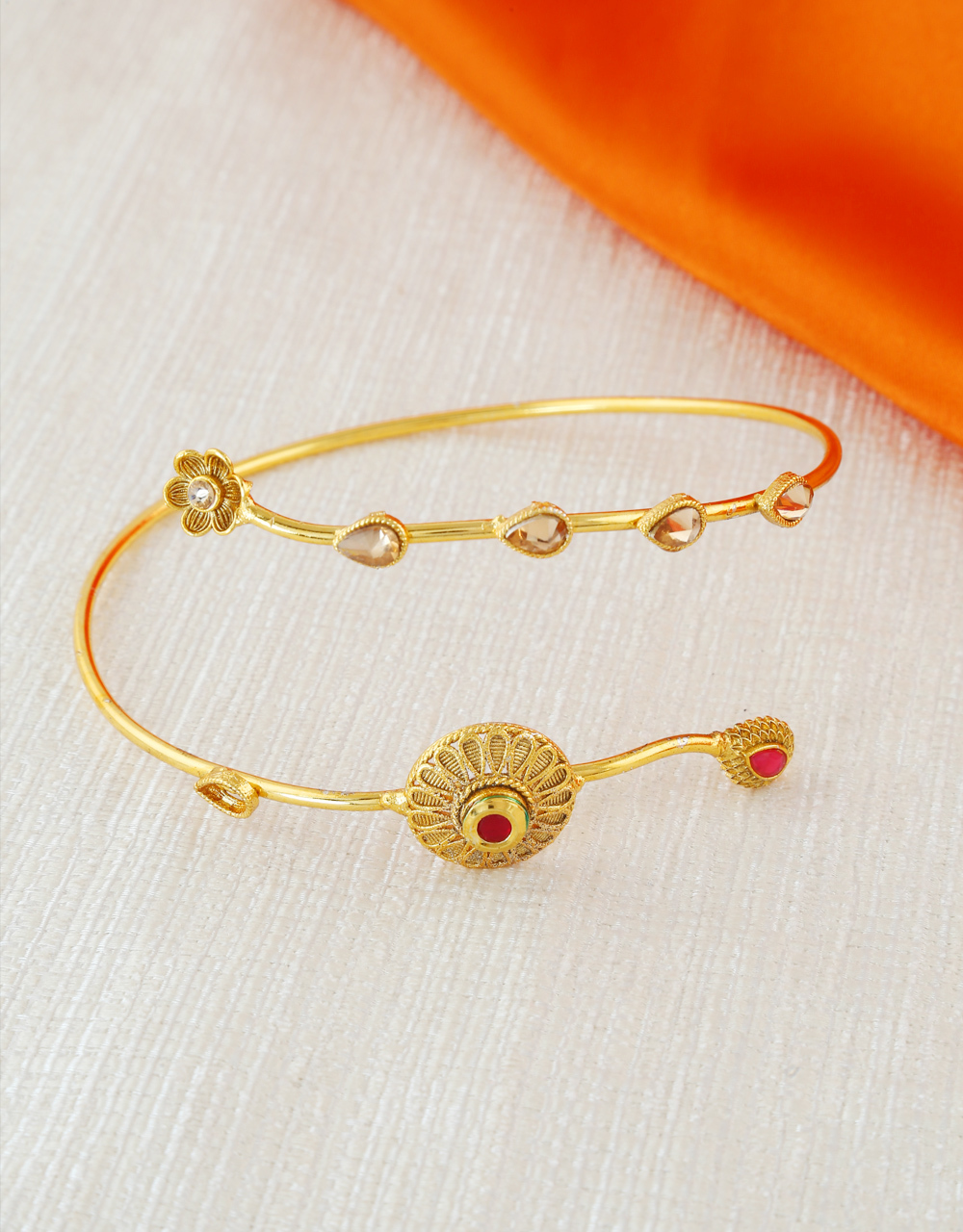 Gold Finish Bajuband For Traditional Wear