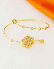 Floral Design Gold Finish Bajuband For Wedding