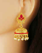 Red Colour Fancy Matte Gold Finish Earring