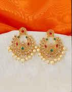 Multi Colour Antique Matte Gold Finish Earring Fancy