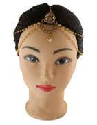 Golden Polish Forehead Jewellery Studded with Peach Colour Stones