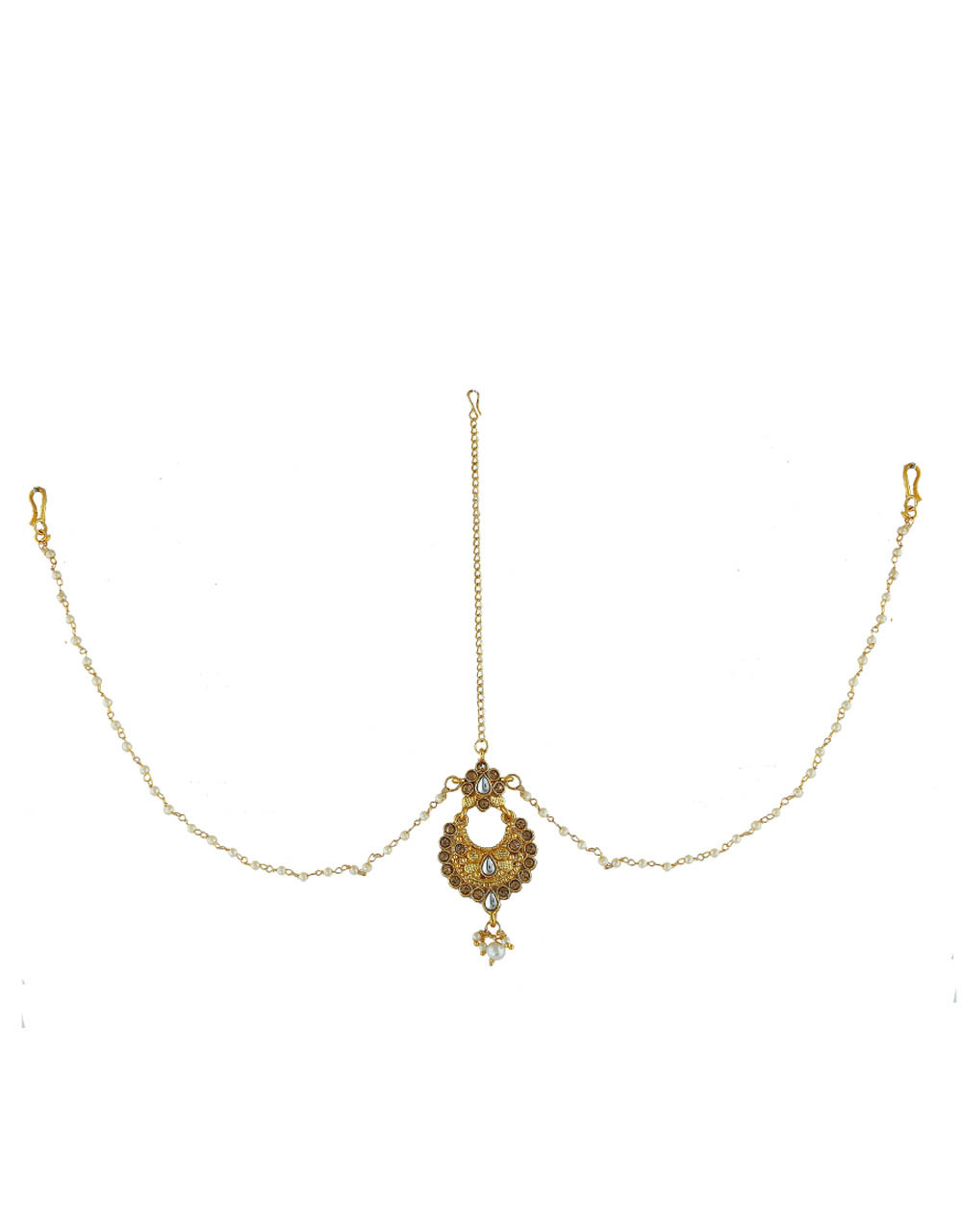 Gold Finish Matha Patti With Hanging Droplets and Studded With Stones