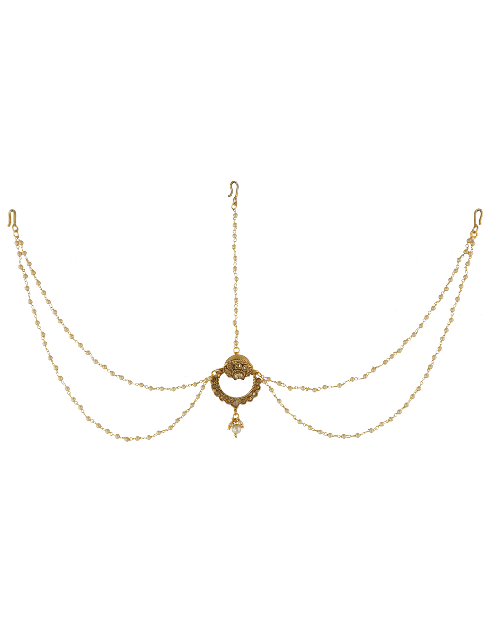 Attractive Matha Patti Design With Two Layers of Pearl String