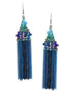 Blue Colour Silver Finish Korean Earrings For Women Fancy