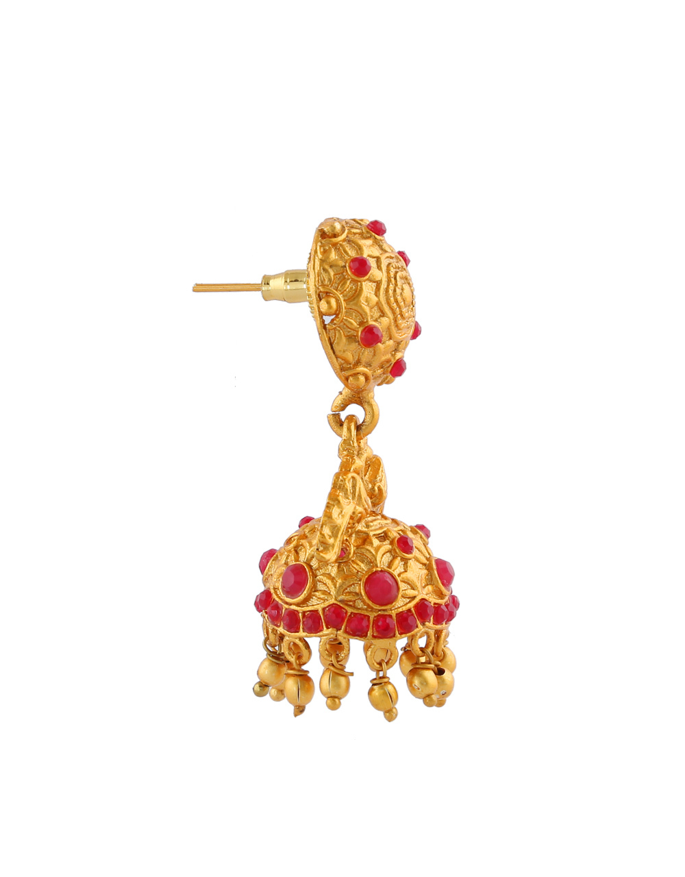 Red Colour Yellow Gold Finish Designer Jhoomka