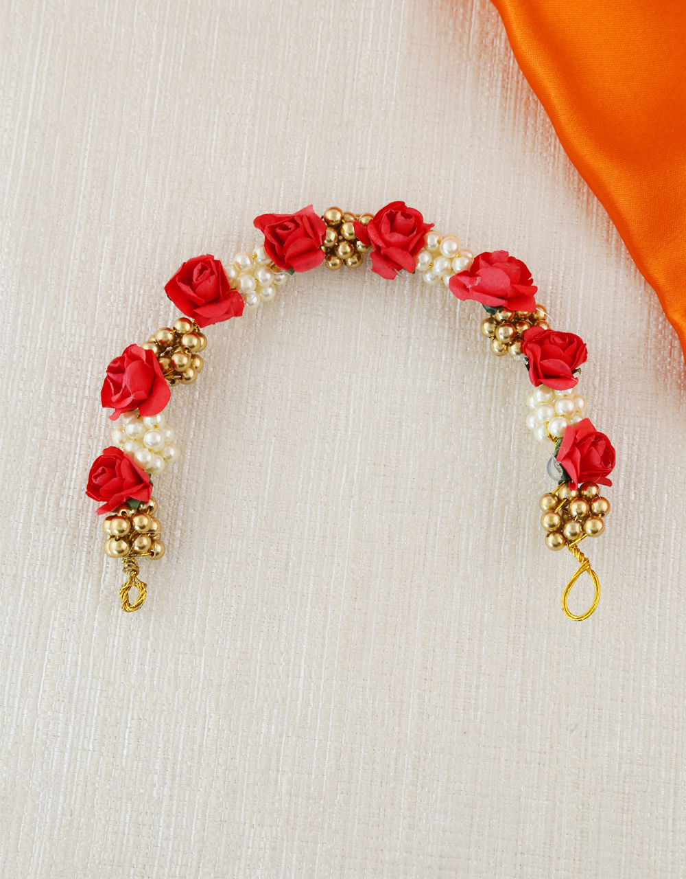 Red Colour Moti Styled Hair Gajra Fancy