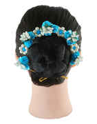 Turquiose Colour Fancy Hair Gajra For Wedding