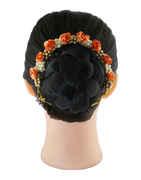 Orange Colour Gold Finish Designer Moti Styled Hair Gajra