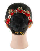 Red Colour Floral Design Hair Accessories Gajra For Girls