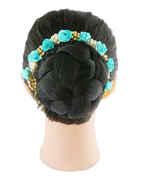 Moti Styled Turquiose Colour Hair Ambada Gajra