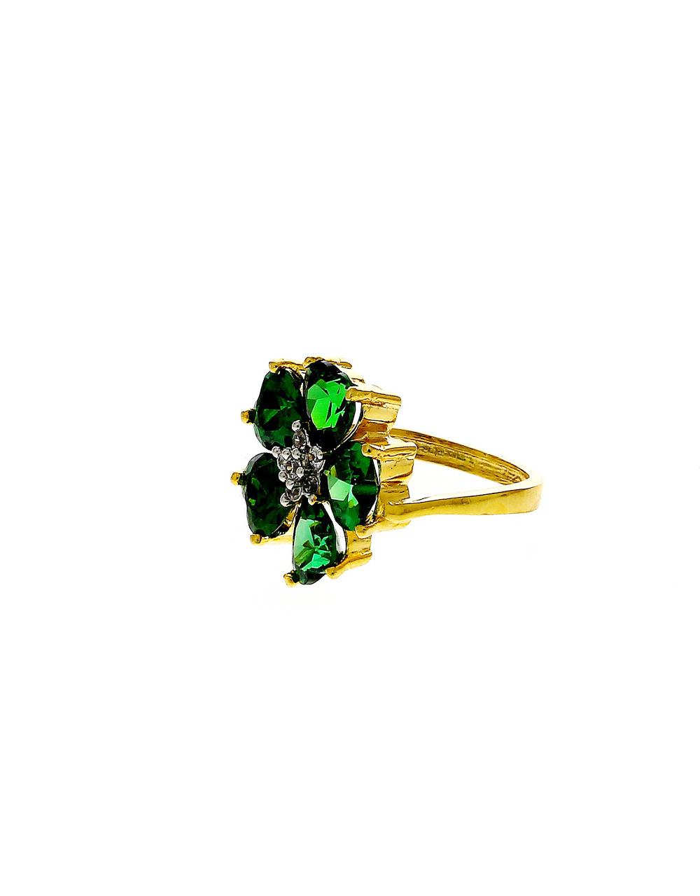 Green Colour Gold Finish Floral Design Finger Ring