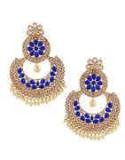 Blue Colour Gold Finish Fancy Chandbali Earrings