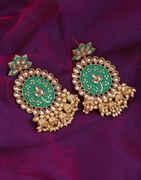 Green Colour Jhoomka Earrings For Girls