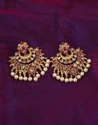 Pink Colour Simple Gold Finish Chandbali Earings