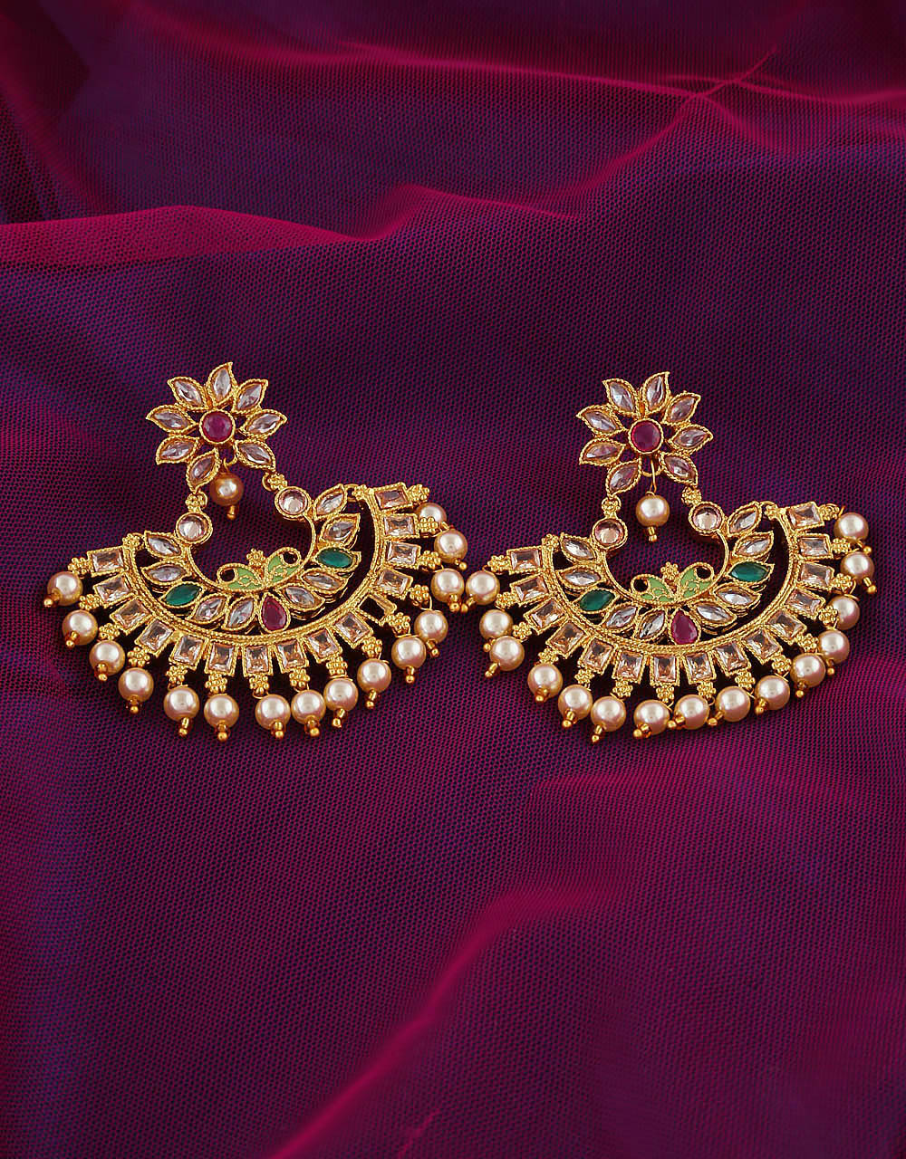 Floral Design Gold Finish Fancy Earrings Traditional