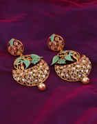 Green Colour Gold Finish Fancy Earrings For Girls