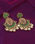 Adorable Green Colour Fancy Earrings For Weddings