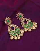Green Colour Fancy Gold Finish Earrings For Girls
