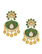Green Colour Gold Finish Fashionable Earrings For Girls