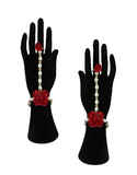 Red Colour Moti Styled Flower Jewellery For Haldi Ceremony