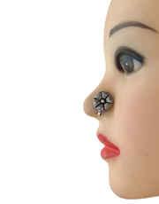 Round Shape Silver Finish Oxidised Nose Stud