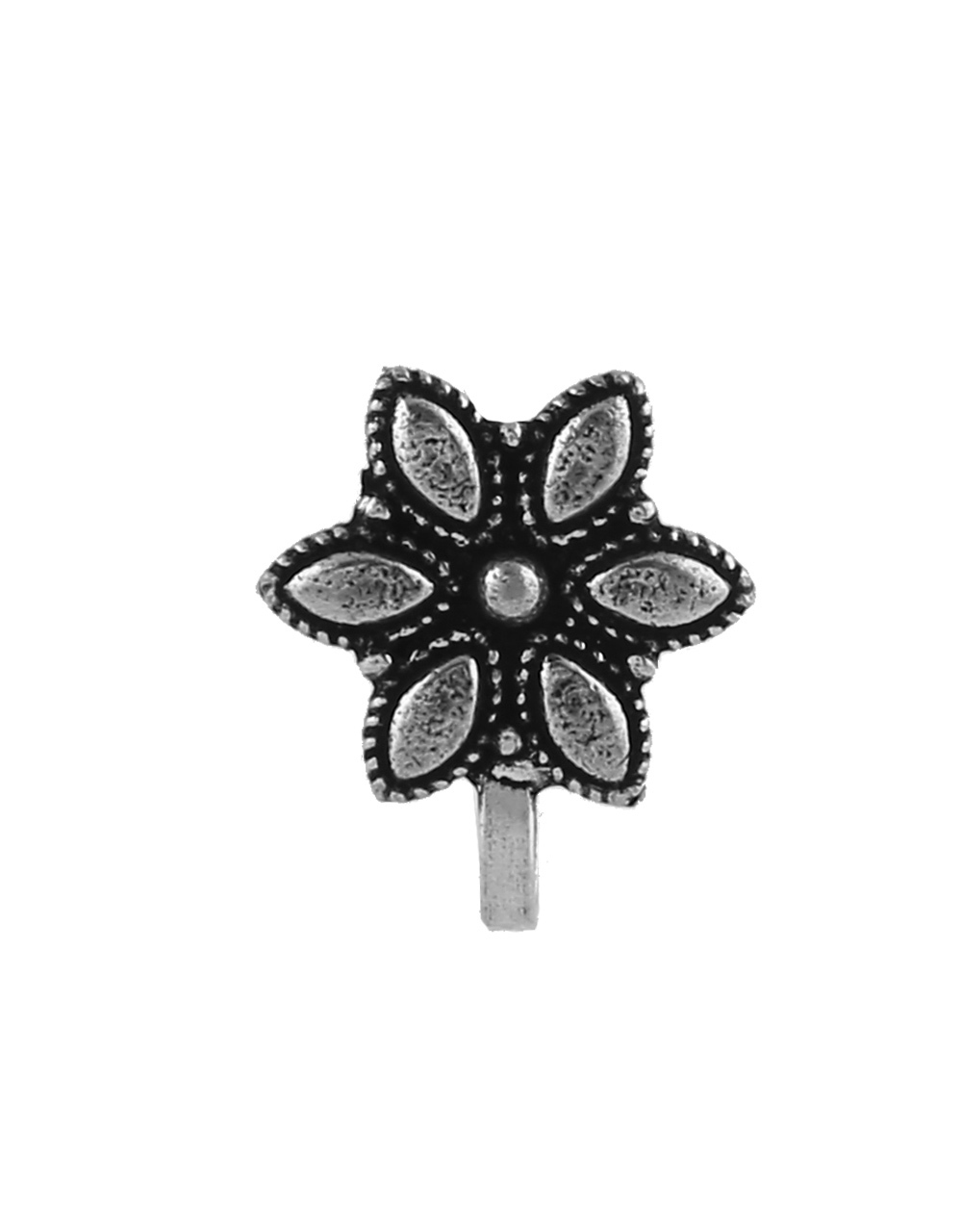 Floral Design Oxidised Finish Nose Stud Ring