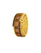 Fashionable Matte Gold Finish Diamond Bracelets Styled With Pearls Beads Kada