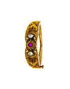 Matte Gold Finish Pink Colour Kundan Kada Bracelets For Girls