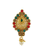 Multi Colour Gold Finish Fancy Ambada Brooch Pin