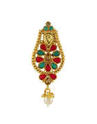 Designer Gold Finish Multi Colour Hair Brooch Pin