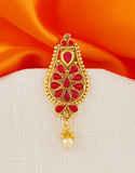 Red Colour Adorable Gold Finish Ambada Hair Brooch Pin