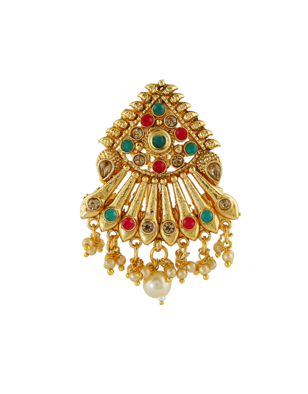 Antique Gold Finish Multi Colour Hair Ambada Pin