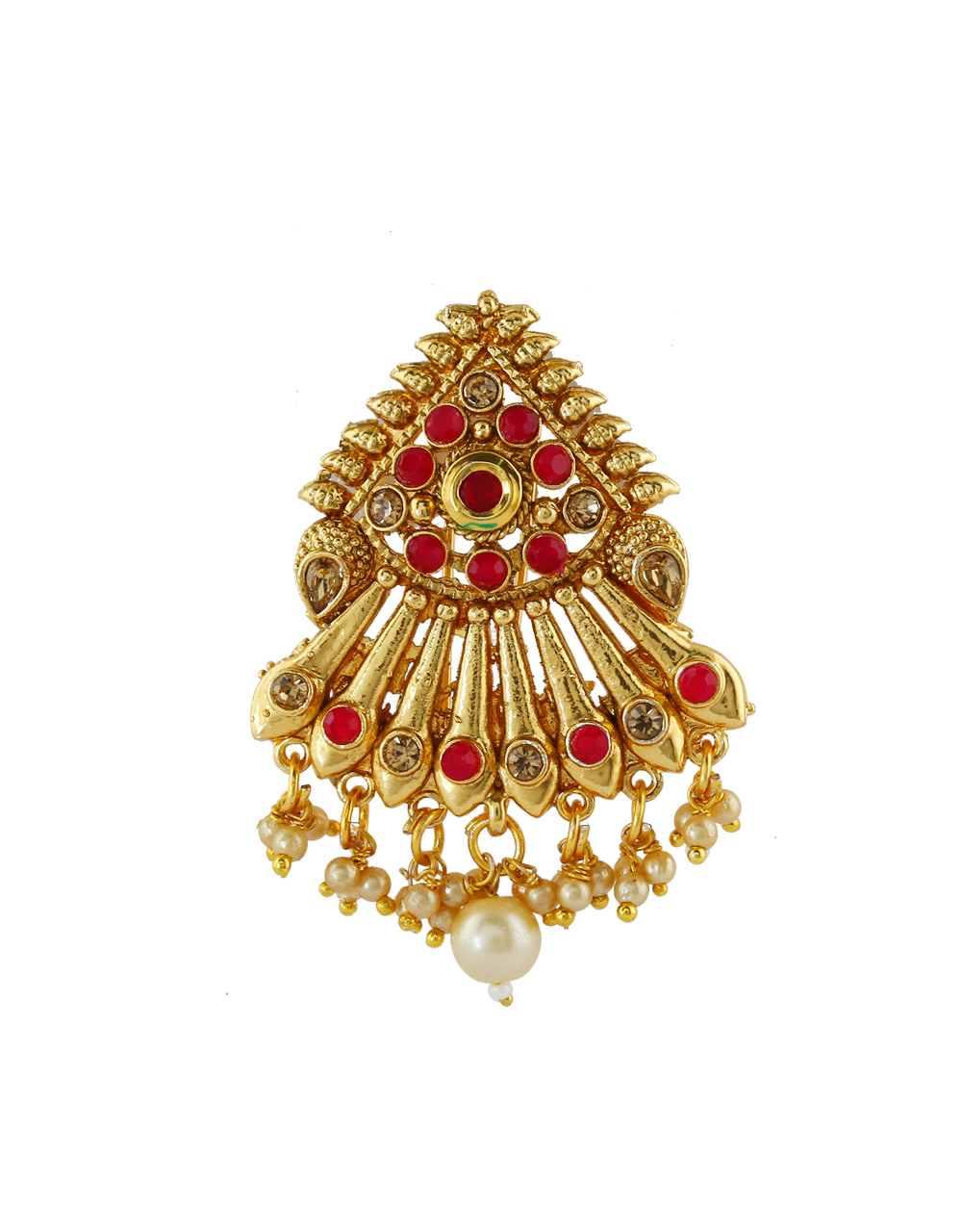 Red Colour Fancy Gold Finish Hair Brooch Pin