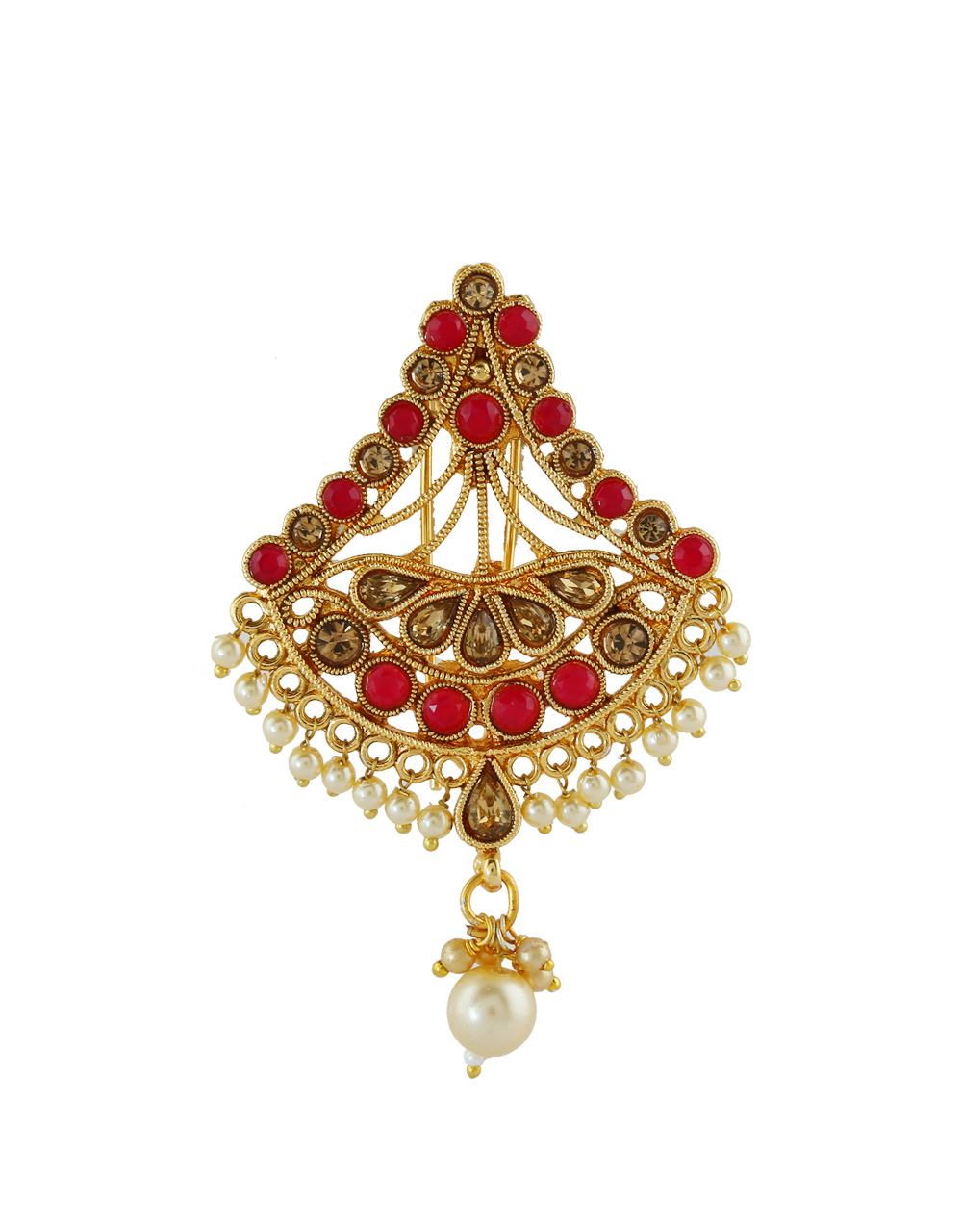 Red Colour Gold Finish Ambada Pin For Traditional Fancy