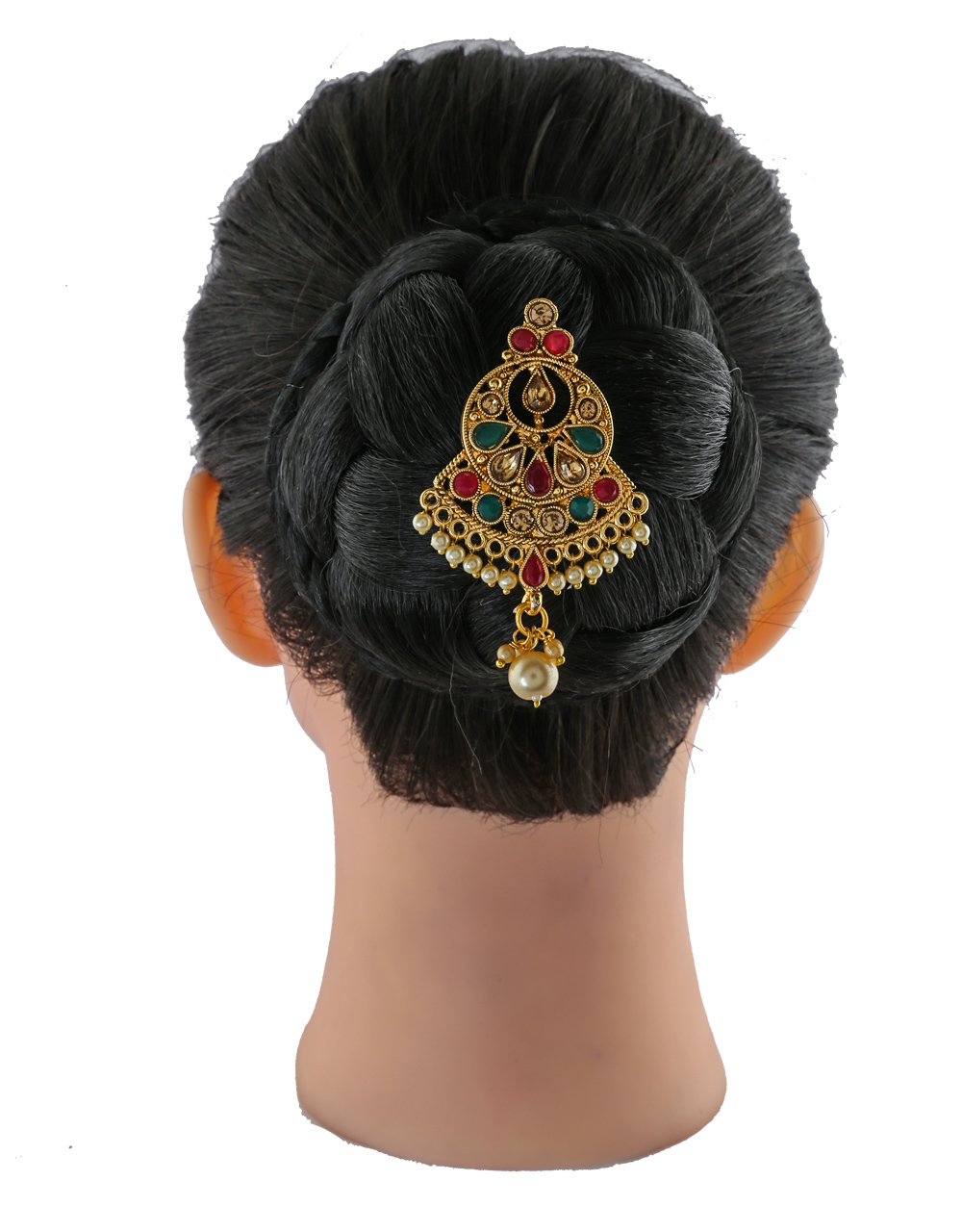 Simple Multi Colour Gold Finish Moti Styled Hair Ambada Pin