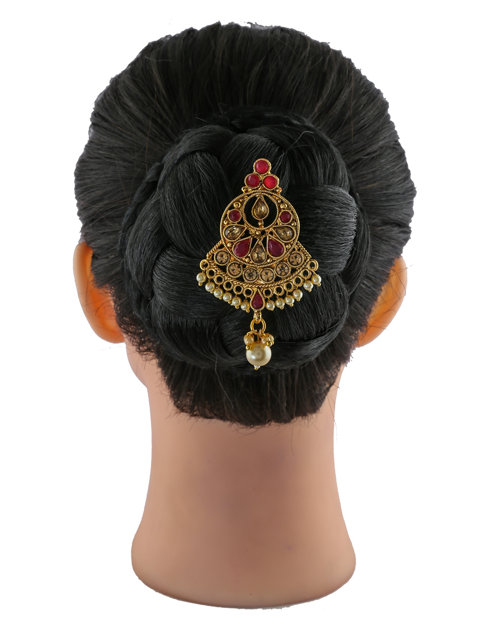 Red Colour Gold Finish Fancy Pearls Styled Hair Pin