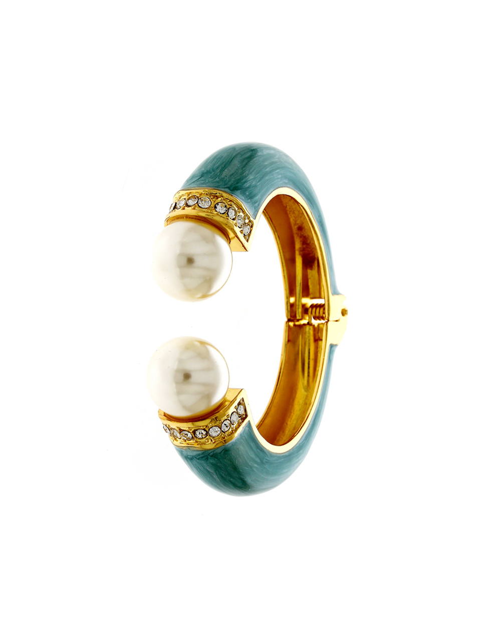 Green Colour Gold Finish Pearls Styled Kada