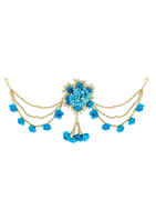 Turquoise Colour Moti Styled Fancy Floral Hair Brooch For Girls