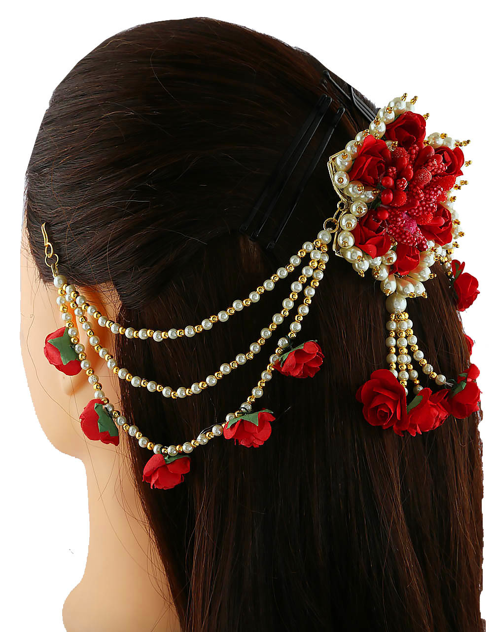 Red Colour Moti Styled Fancy Hair Jewellery Styled With Pearls Hair Brooch