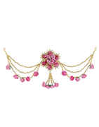 Baby-Pink Colour Gold Finish Fashionable Hair Brooch Pin
